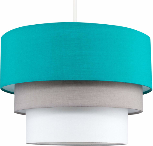 Picture of Beautiful Round Modern 3 Tier Turquoise Teal, Grey and Taupe Fabric Ceiling Designer Pendant Lamp Light Shade
