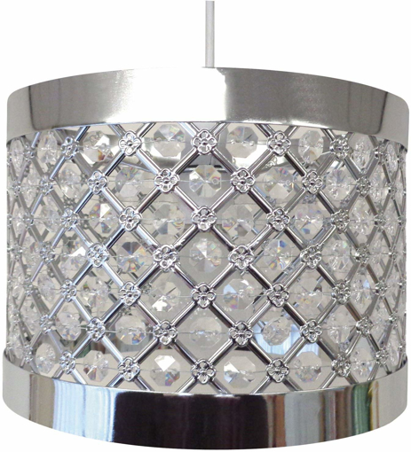 Picture of Sparkly Ceiling Pendant Light Shade Fitting, Plastic/Metal, Silver