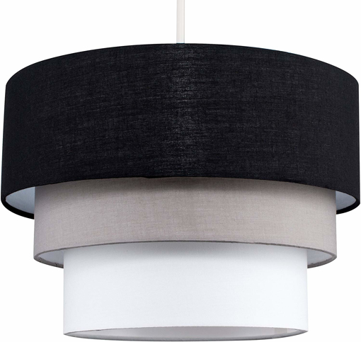 Picture of Beautiful Round Modern 3 Tier Black, Grey and White Fabric Ceiling Designer Pendant Lamp