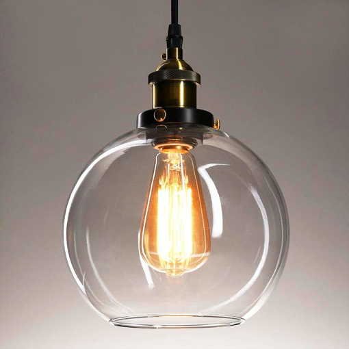 Picture of Vintage Pendant Light, Retro Industrial Ball Glass Light Fitting