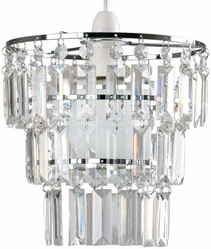 Picture of Modern 3 Tier Ceiling Pendant Light Shade with Clear Acrylic Jewel Effect