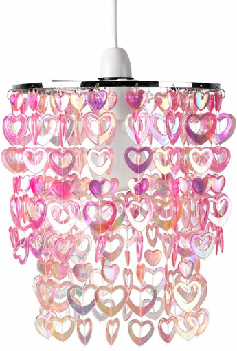 Picture of Beautiful Pretty Pink Acrylic Love Heart Beads Ceiling Pendant Children's Light Shade