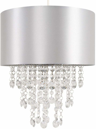 Picture of Modern Grey Fabric Cylinder Ceiling Pendant Light Shade