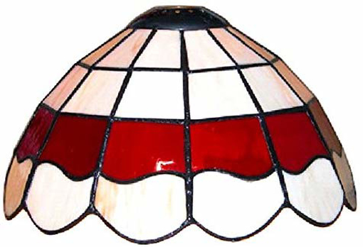 Picture of Tiffany Style White and Red Stained Glass Pendant Light Shade