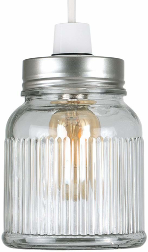 Picture of Retro Style Silver Brushed Chrome Jar Ceiling Pendant Light Shade