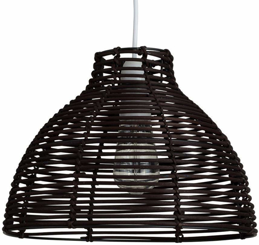 Picture of Modern Brown Wicker Rattan Basket Style Ceiling Pendant Light Shade