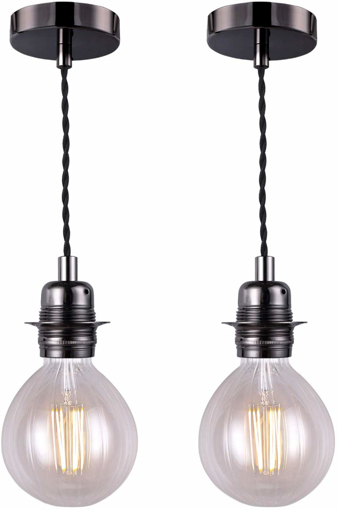 Picture of Vintage Pendant Light Fitting, Black Finish Retro Style E27 Lamp Holder