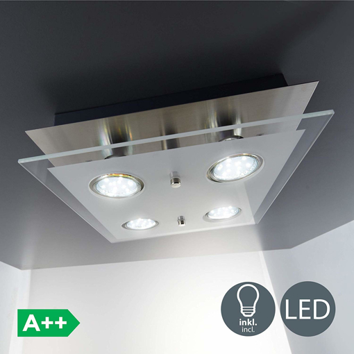 Picture of LED 4 Spot Square Ceiling Lamp with 4x 3W GU10 bulbs