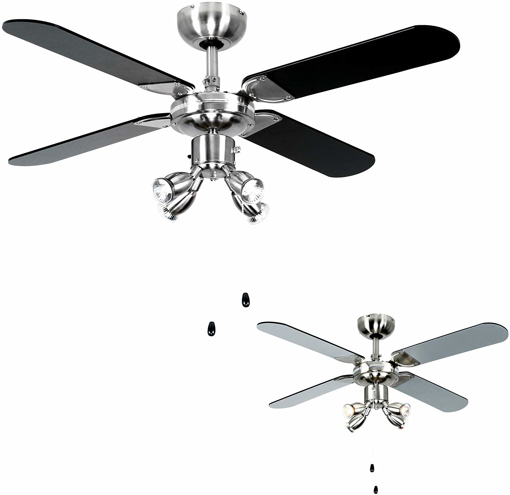 """Picture of Chrome 42"""" Modern Ceiling Fan with Spot Lights & Black/Silver Reversible Blades - Complete 3w LED GU10 Light Bulbs [3000K Warm White]"""