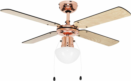 """Picture of Copper 42"""" Modern Ceiling Fan with Light & Beech/Black Reversible Blades"""