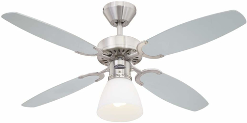 Picture of CAPITOL Ceiling Fan, Metal, E27, 60 W, Brushed Steel finish with reversible silver/black blades