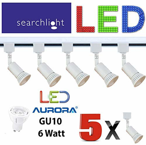 Picture of LED GU10 White Track Lighting 5 X SPOT Lights - 5 X 6 WATT Aurora LED GU10 Included