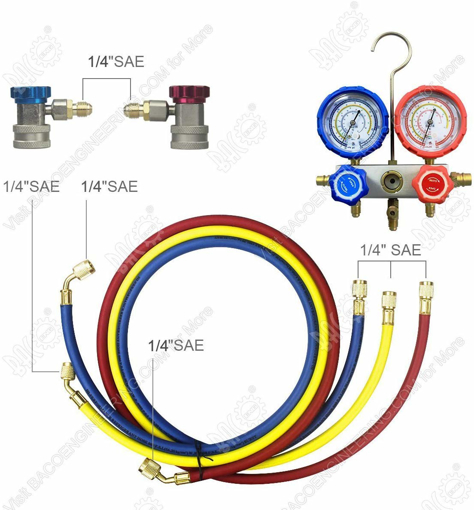 Picture of HVAC A/C Refrigeration AC Manifold Gauge Set Ideal for R134A R410A R407C R22