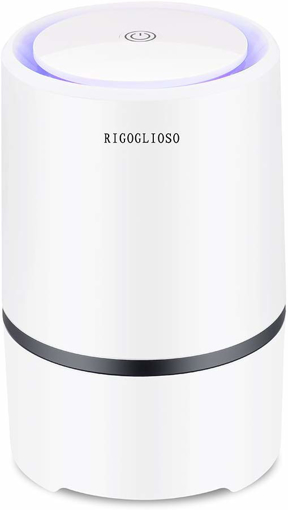 Picture of RIGOGLIOSO Air Purifier Air Cleaner for home with True HEPA & Active Carbon Filter, Portable Air Purifiers, Air Ionizer Remove Dust, Pollen,Smoke, Odors with 5V 1.5M USB Cable [Energy Class A+]