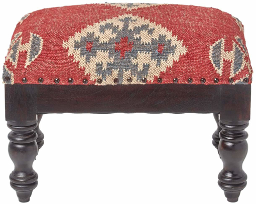 Picture of Upholstered Stool Seat with Legs Kilim Multi Colour Handmade