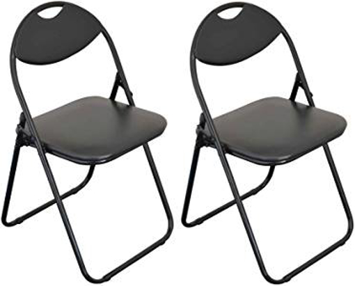 Picture of Harbour Housewares Black Padded - Folding - Desk Chair/Black Frame - Pack of 2
