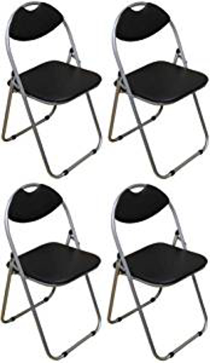 Picture of Harbour Housewares Black Padded - Folding - Desk Chair - Pack of 4