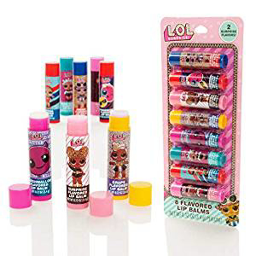 Picture of LOL Surprise 8 Pack Flavoured Lip Balm Sticks - Girls Lip Gloss Set