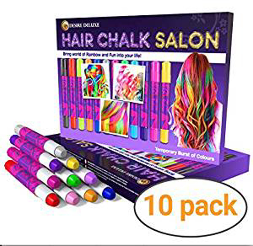 Picture of Desire Deluxe Hair Chalk Gift for Girls - 10 Temporary Non-Toxic Easy Washable Hair