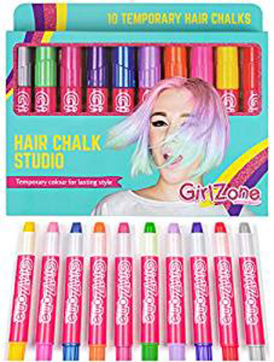 Picture of GirlZone: Hair Chalk Set For Girls - 10 Piece Temporary Hair Chalks Colour