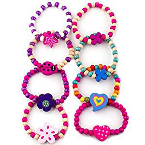 Picture of Little Princess Party Jewellery LPPB-008 8 Bracelets Colourful Wooden Jewellery Girls