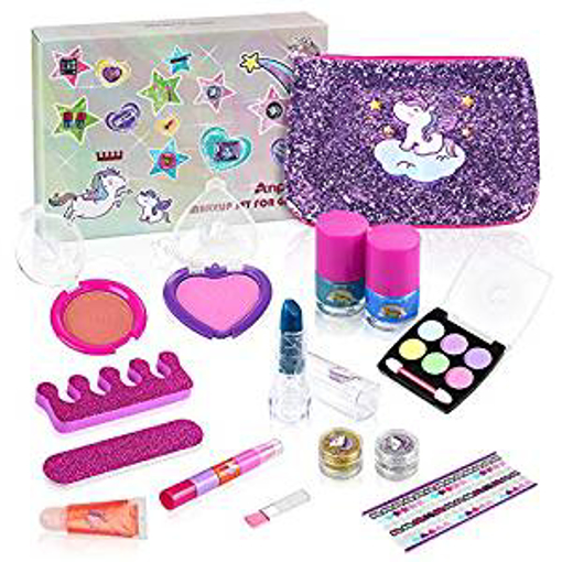 Picture of Anpro 15pcs Kids Washable Make Up Set - Kids Cosmetics Kit Include Unicorn Bag