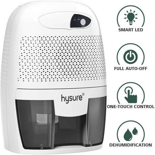 Picture of hysure 500ml Electric Dehumidifier, Removes Humidity 250ml per day, 500ml Detachable Water Tank, LED Indicator, Automatic,