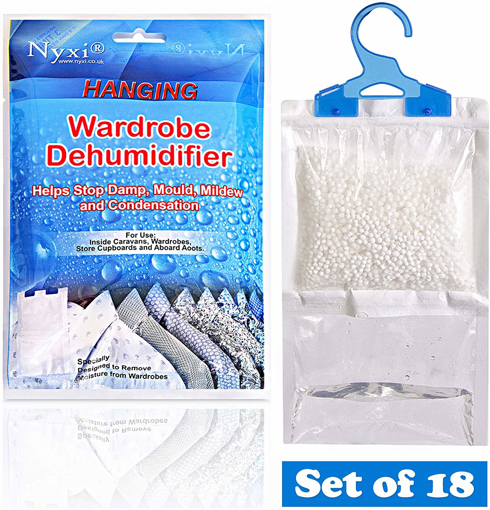 Picture of Nyxi Set of 18 Hanging Interior Wardrobe Dehumidifier - 230g Each Bag - Ideal to stop damp, mould mildew & condensation