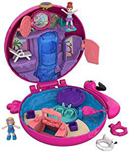 Picture of Polly Pocket FRY38 Pocket World Flamingo Floatie Compact Play Set
