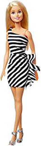 Picture of Barbie Doll GJF85 Blonde - Wearing Black-and-White Striped Party Dress