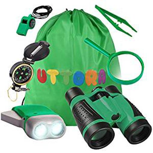 Picture of UTTORA Outdoor Explorer Kit Gifts Toys Kids Binoculars Set - Outdoor Exploration Set - Best for 3 4 5 6-12 Year Old Boy and Girl - Kids Telescope Adventure Kit - Children Outdoor Educational Kit