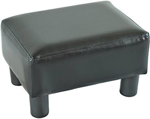 Picture of HOMCOM PU Leather Ottoman Footstool Footrest Small Seat Foot Rest Chair (Black)