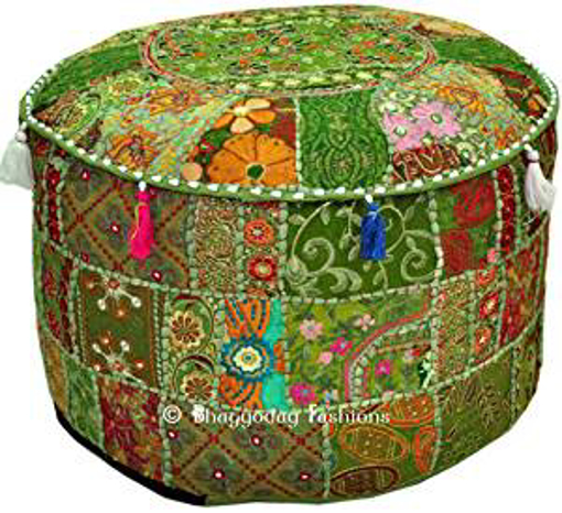 Picture of Bohemian Vintage Embroidered Pouf Ottoman Footstool Cover Indian Round Ottoman Stool Pouf Pillow