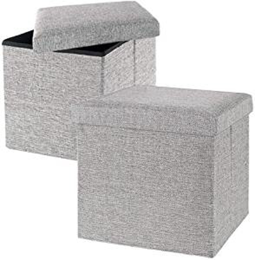 Picture of GoMaihe Ottoman Storage Boxes Set of 2 - Linen Footstools