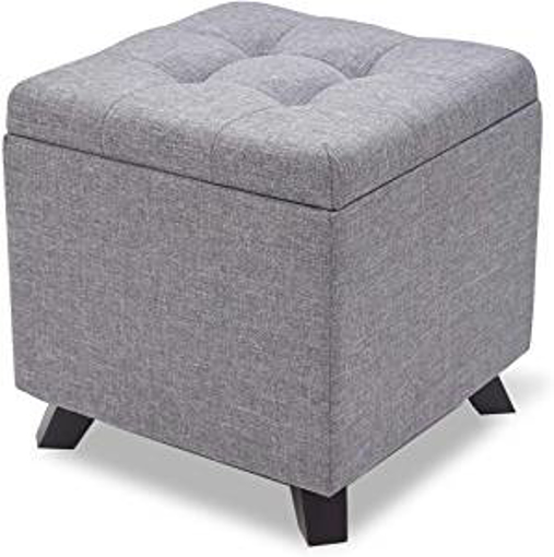 Picture of Suhu Poffee Foot Stool Rest Ottoman Cube Storage Boxes Salon Taburete Stools Chair 4 Wooden Legs