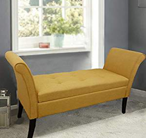 Picture of HomeHarmony® Wentworth Easy to Assemble Linen Look Window Seat Ottoman Storage Bed End Sofa Bench (Ochre)