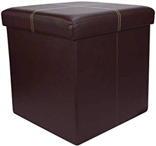 Picture of Home Source Folding Ottoman Brown Faux Leather Chest Solid Sturdy Storage Space Saving Box