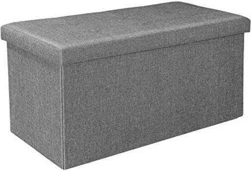 Picture of Bonlife Grey Ottoman Storage Boxes - Double Seat Footstool Versatile