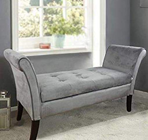 Picture of HomeHarmony® Windsor Easy to Assemble Velvet Window Seat Ottoman