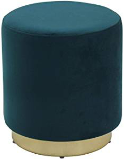 Picture of Hodge and Hodge Sophia Footstool Pouffe Footrest Velvet Home Accessory - Teal