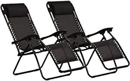 Picture of KEPLIN Set of 2 Heavy Duty Textoline Zero Gravity Chairs | Garden Outdoor Patio Sun Loungers | Folding Reclining Chairs | Lounger Deck Chairs (BLACK)