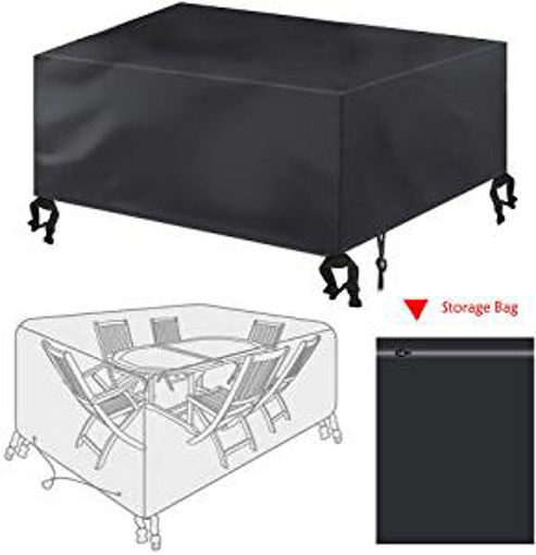 Picture of Garden Furniture Cover -Bigzzia Rattan Cube Set Cover 420D Oxford fabric Patio Table Cover Windproof Anti-UV with 4 Fixing Buckles For Tables Chairs