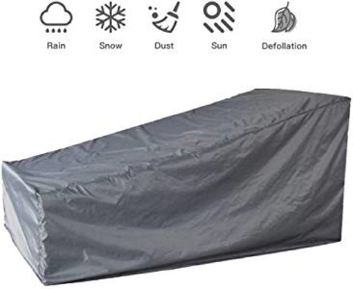 Picture of mychoose Garden Sunbed Cover Sunlounger Covers Waterproof Outdoor Patio Sun Lounger Furniture Set Cover Wooden Rattan Deck Chair Protection 82x30x16/31inches(1 - Grey)