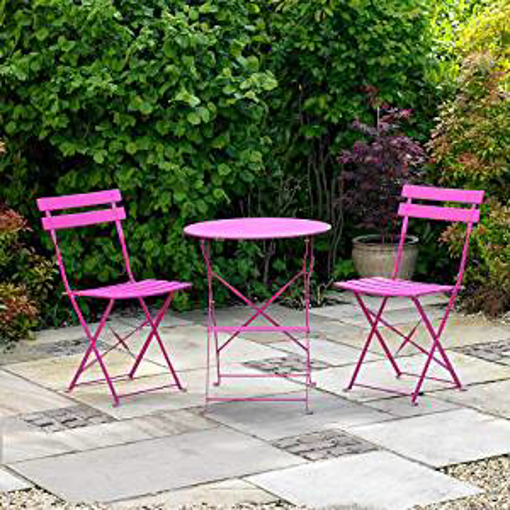 Picture of Kingfisher FSBT1 Pink Metal Bistro Conservatory/Outdoor Garden Patio Furniture Set - Transparent - One Size