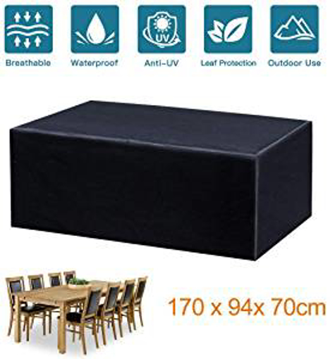 Picture of Fayttoli Garden Furniture Covers - Waterproof Dustproof Anti-UV Oxford Fabric Outdoor Furniture Covers - Rectangular Garden Table Covers 170 x 94 x 70 cm