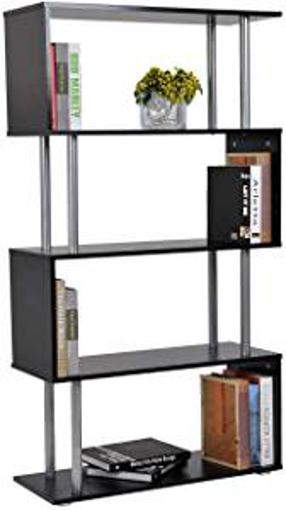 Picture of HOMCOM Wooden S Shape Bookcase Bookshelf Dividers Storage Display Unit Black