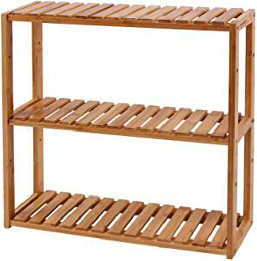 Picture of SONGMICS BCB13Y Adjustable Bamboo Shelving Unit 3 Layers Bathroom Shelf Wall