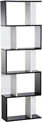Picture of HOMCOM Particle Board 5-tier Bookcase Storage Display Shelving S Shape design Unit Divider