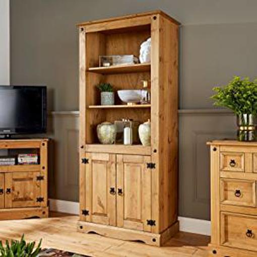 Picture of Home Source Corona Pine Bookcase 2 Door Display Cupboard 3 Book Shelves Distressed Wax Pine