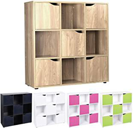 Picture of Cube Shelving Unit - Wood Bookcase with Doors - Boys